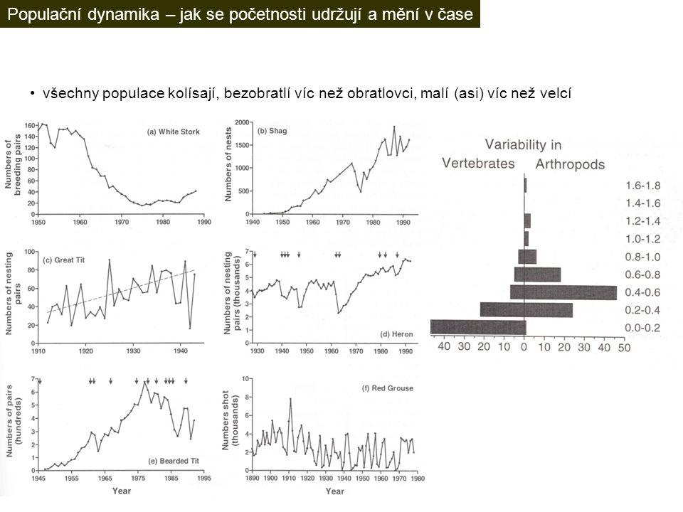 všechny populace kolísají, bezobratlí víc než obratlovci, malí (asi) víc než velcí Populační dynamika – jak se početnosti udržují a mění v čase
