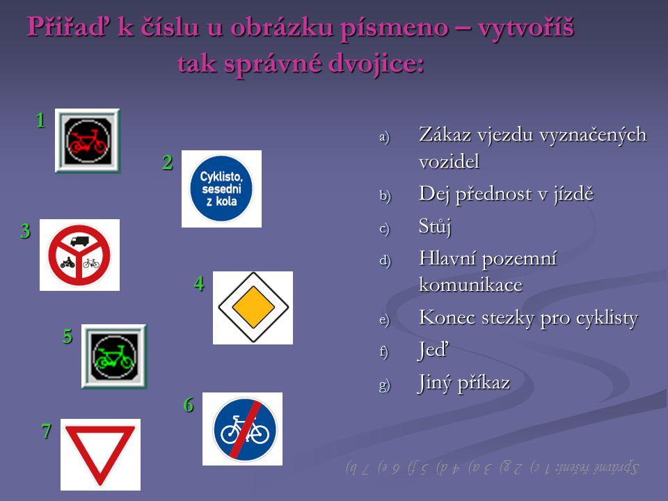 Přiřaď k číslu u obrázku písmeno – vytvoříš tak správné dvojice: a) Zákaz vjezdu vyznačených vozidel b) Dej přednost v jízdě c) Stůj d) Hlavní pozemní komunikace e) Konec stezky pro cyklisty f) Jeď g) Jiný příkaz 1 2 3 4 5 6 7 Správné řešení: 1 c) 2 g) 3 a) 4 d) 5 f) 6 e) 7 b) 