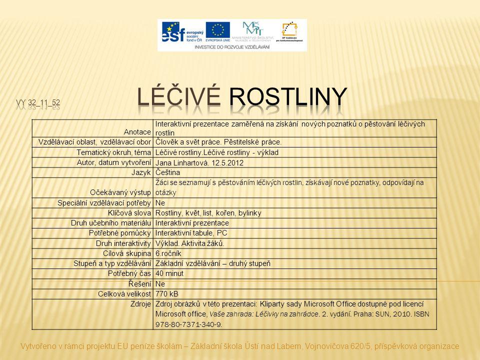 Vytvořeno v rámci projektu EU peníze školám – Základní škola Ústí nad Labem, Vojnovičova 620/5, příspěvková organizace Anotace Interaktivní prezentace