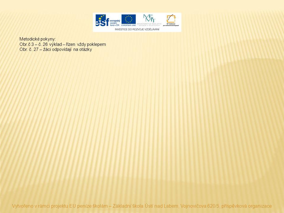 Metodické pokyny: Obr.č 3 – č. 26 výklad – řízen vždy poklepem Obr. č. 27 – žáci odpovídají na otázky Vytvořeno v rámci projektu EU peníze školám – Zá