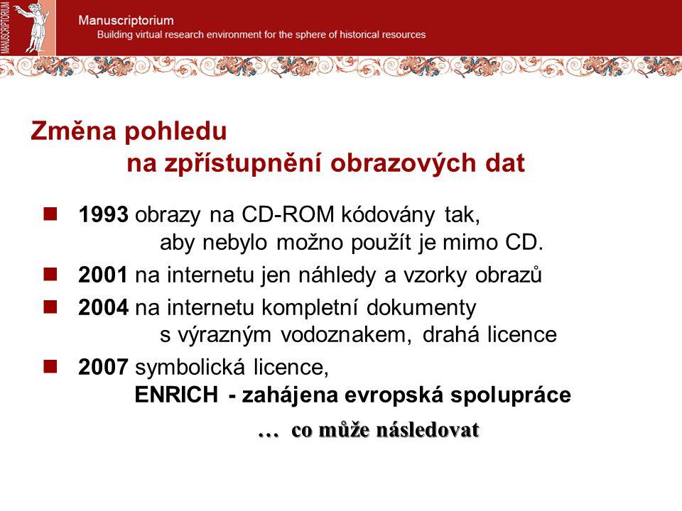 Změna pohledu na zpřístupnění obrazových dat 1993 obrazy na CD-ROM kódovány tak, aby nebylo možno použít je mimo CD. 2001 na internetu jen náhledy a v