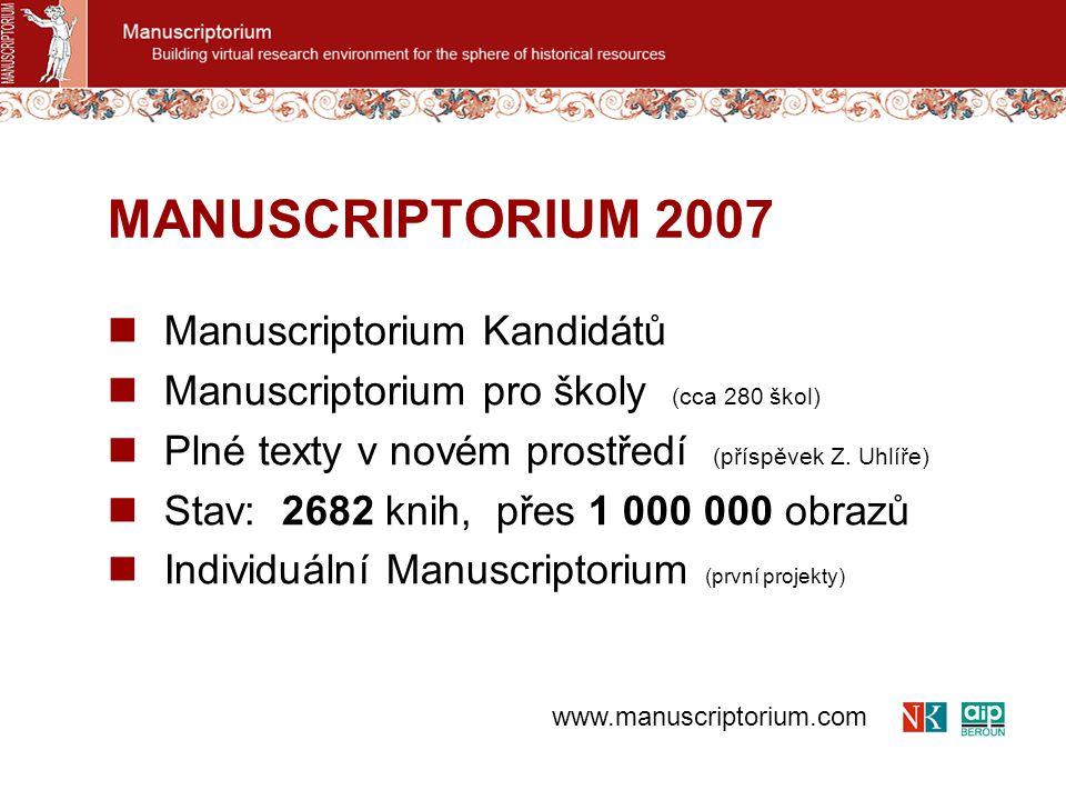 Manuscriptorium Kandidátů Manuscriptorium pro školy (cca 280 škol) Plné texty v novém prostředí (příspěvek Z. Uhlíře) Stav: 2682 knih, přes 1 000 000