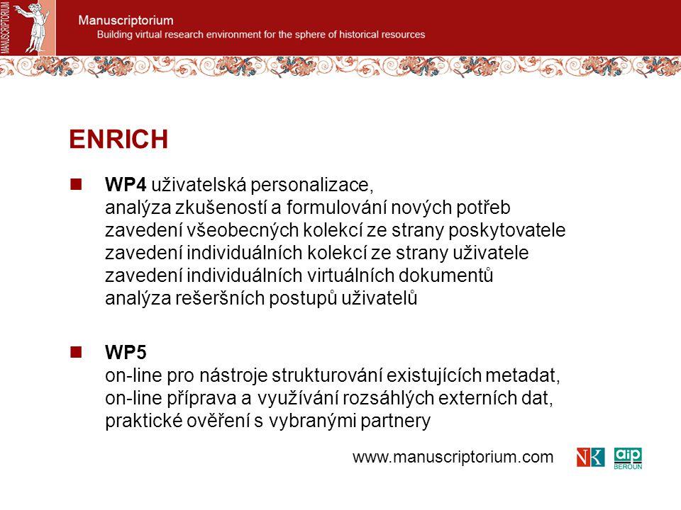 WP6 vícejazyčné prostředí, automatizovaný překlad dotazů, ontologie WP7 Vyhodnocení, testování WP8 Šíření a využití ENRICH www.manuscriptorium.com