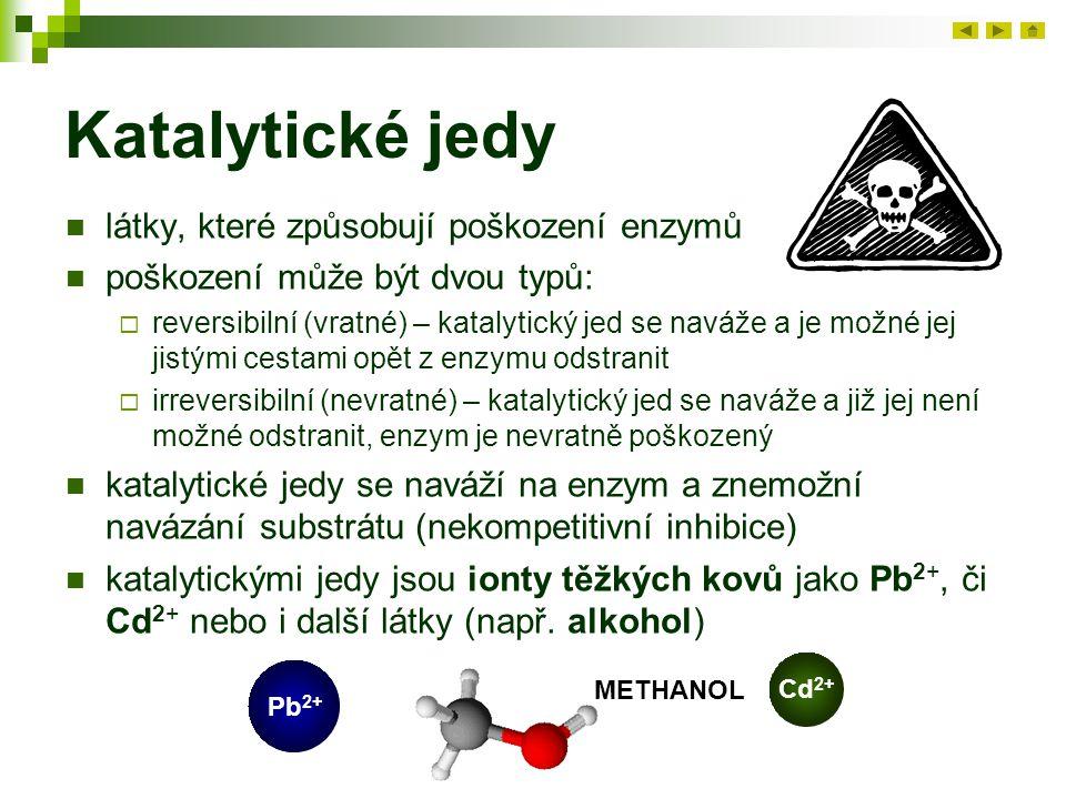 Katalytické jedy látky, které způsobují poškození enzymů poškození může být dvou typů:  reversibilní (vratné) – katalytický jed se naváže a je možné jej jistými cestami opět z enzymu odstranit  irreversibilní (nevratné) – katalytický jed se naváže a již jej není možné odstranit, enzym je nevratně poškozený katalytické jedy se naváží na enzym a znemožní navázání substrátu (nekompetitivní inhibice) katalytickými jedy jsou ionty těžkých kovů jako Pb 2+, či Cd 2+ nebo i další látky (např.