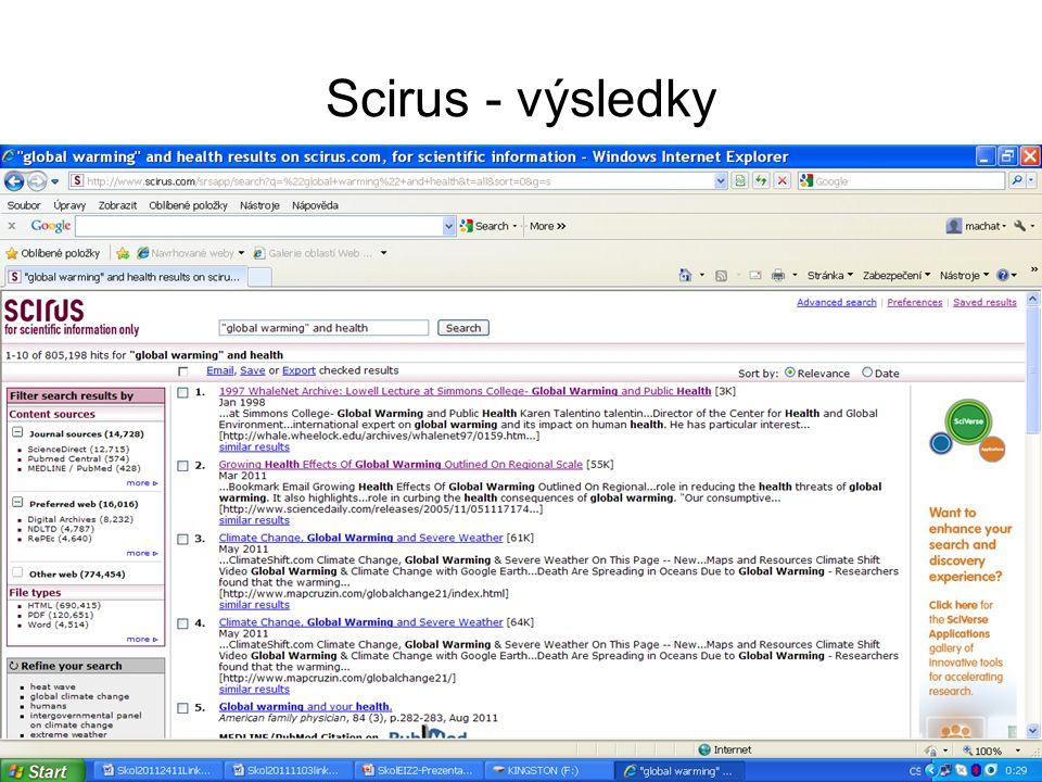 Scirus - výsledky