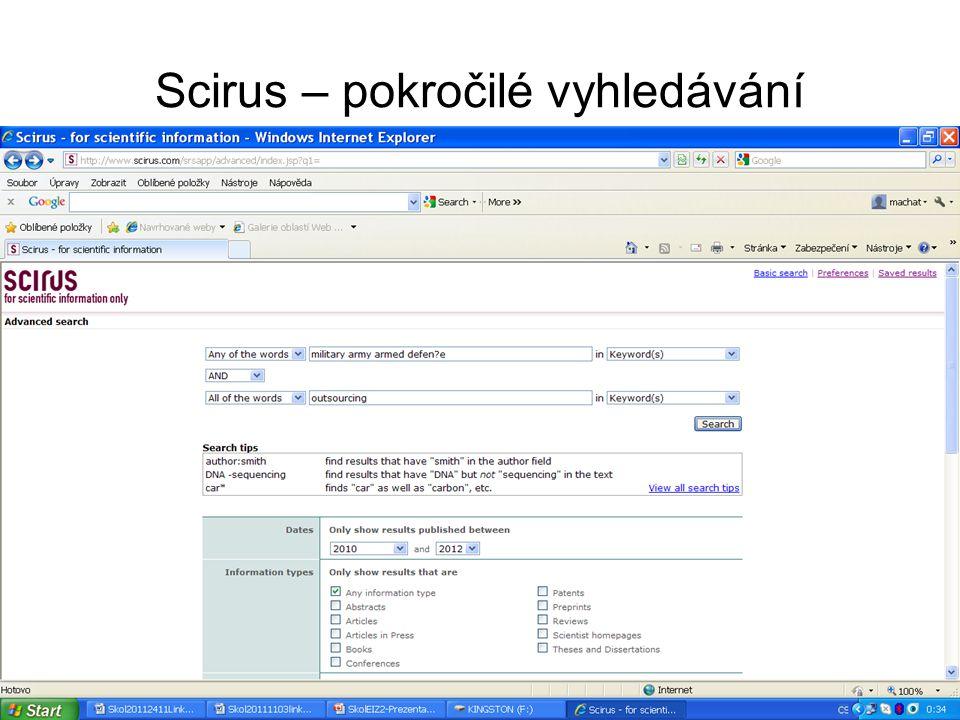 Scirus – pokročilé vyhledávání