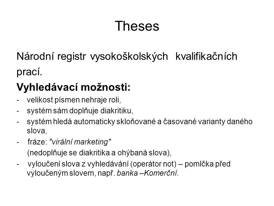 Theses Národní registr vysokoškolských kvalifikačních prací.