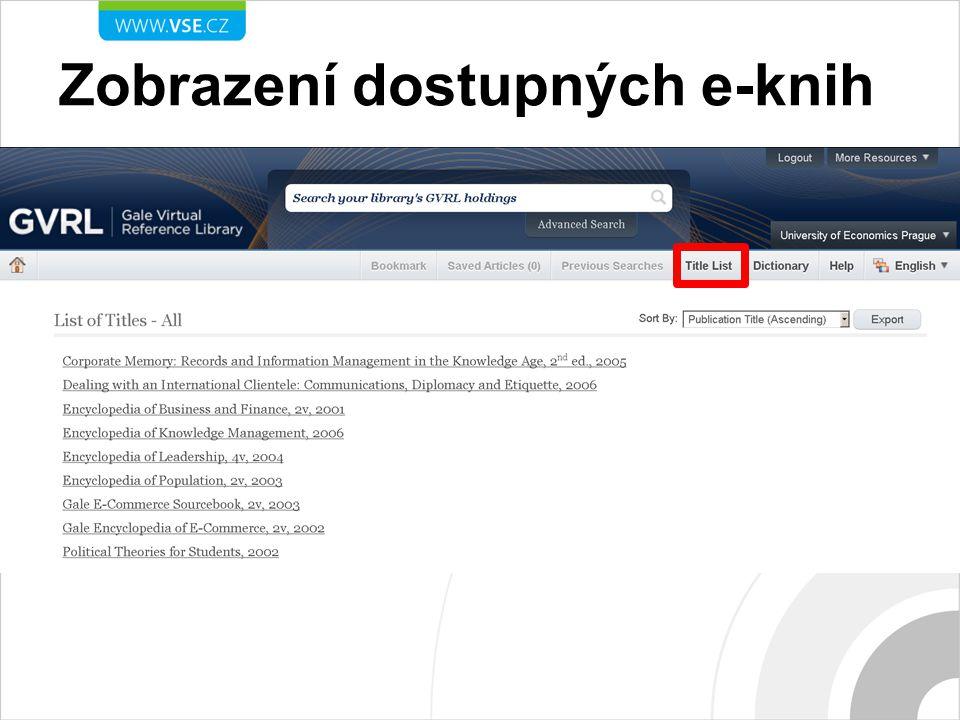 Zobrazení dostupných e-knih