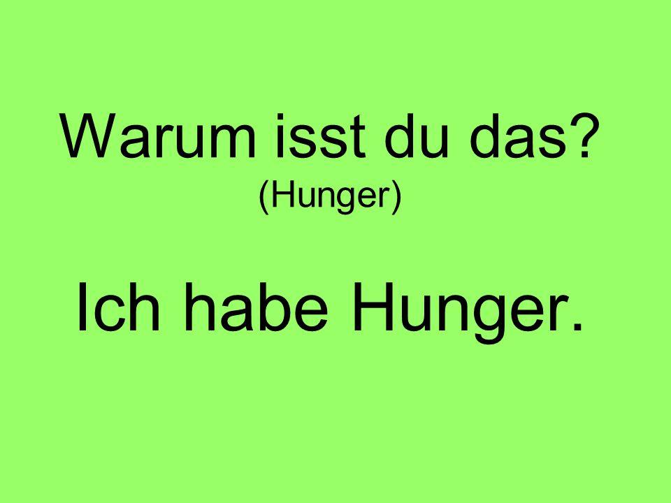 Warum isst du das? (Hunger) Ich habe Hunger.
