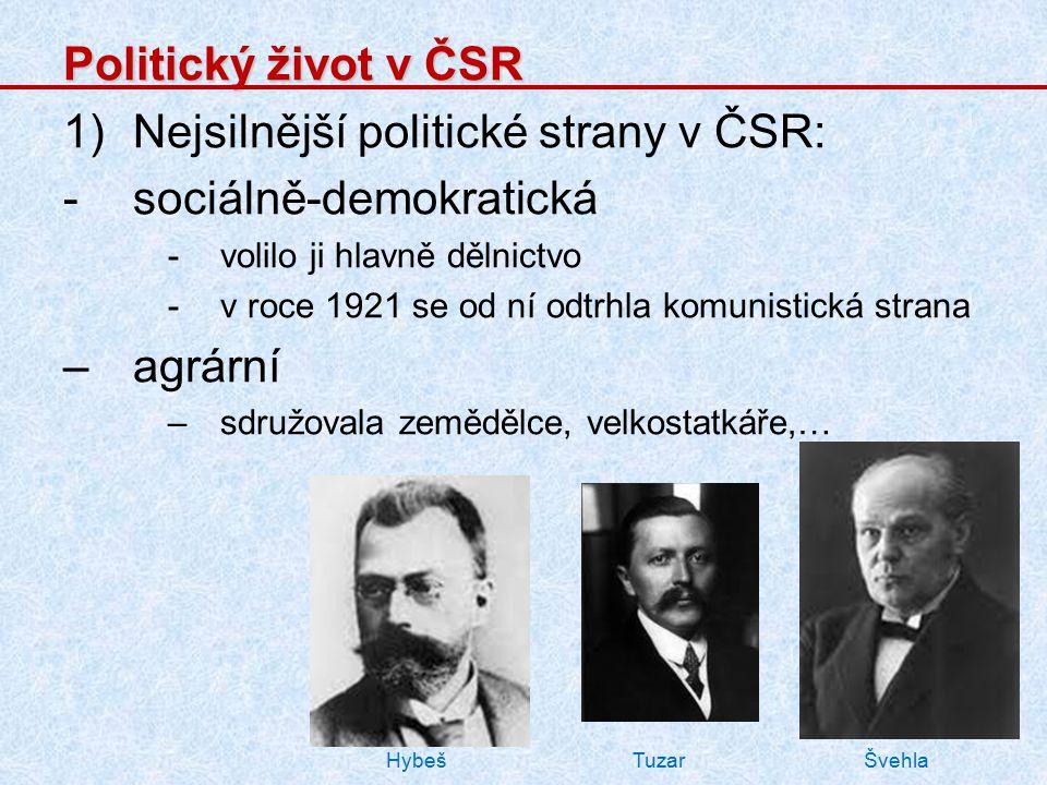 Politický život v ČSR 1)Nejsilnější politické strany v ČSR: -sociálně-demokratická -volilo ji hlavně dělnictvo -v roce 1921 se od ní odtrhla komunisti