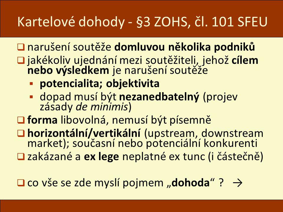 Kartelové dohody - §3 ZOHS, čl.
