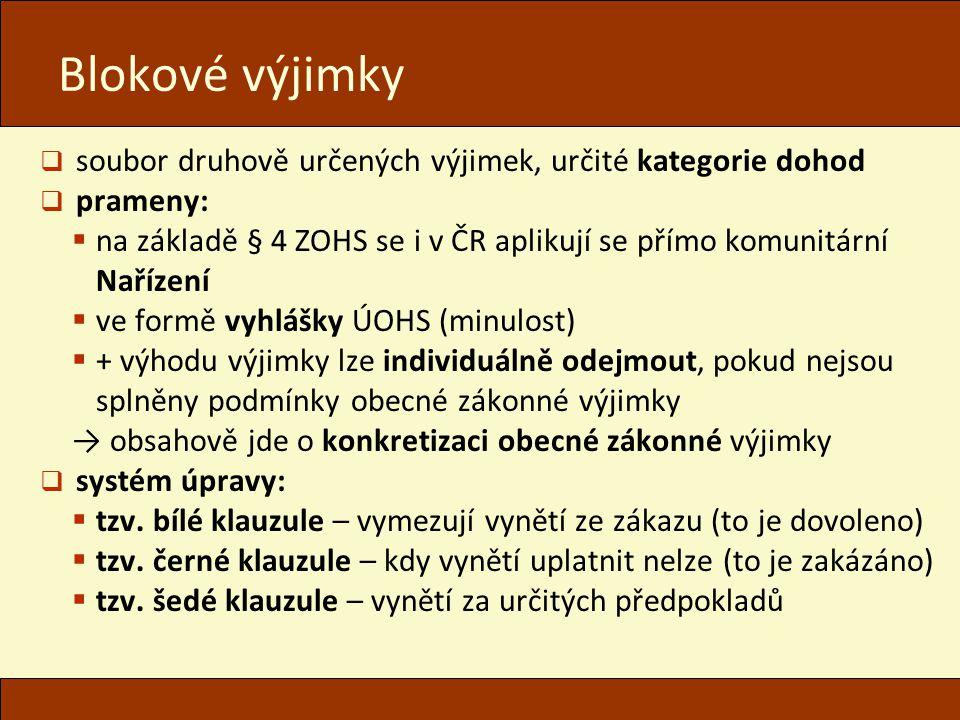 Blokové výjimky  soubor druhově určených výjimek, určité kategorie dohod  prameny:  na základě § 4 ZOHS se i v ČR aplikují se přímo komunitární Nař