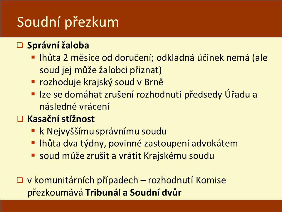 Soudní přezkum  Správní žaloba  lhůta 2 měsíce od doručení; odkladná účinek nemá (ale soud jej může žalobci přiznat)  rozhoduje krajský soud v Brně