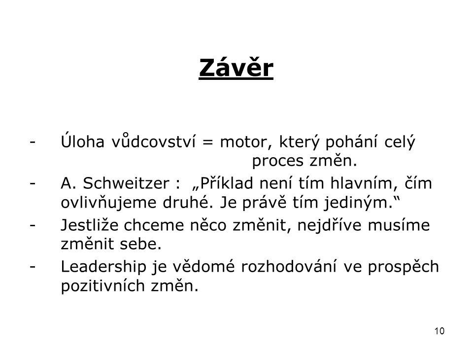 10 Závěr -Úloha vůdcovství = motor, který pohání celý proces změn.