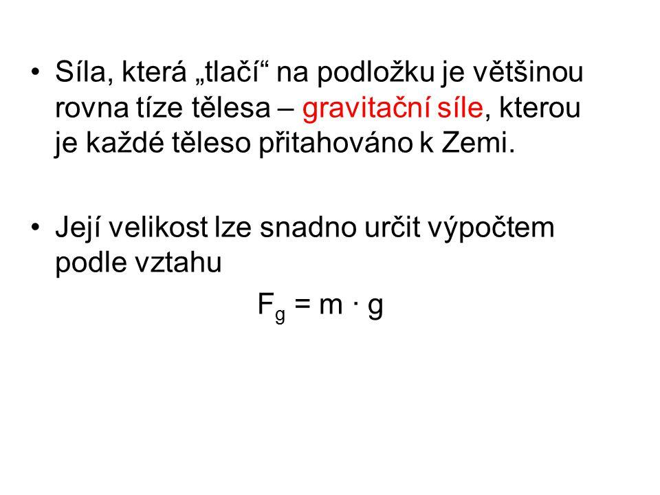 """Síla, která """"tlačí"""" na podložku je většinou rovna tíze tělesa – gravitační síle, kterou je každé těleso přitahováno k Zemi. Její velikost lze snadno u"""