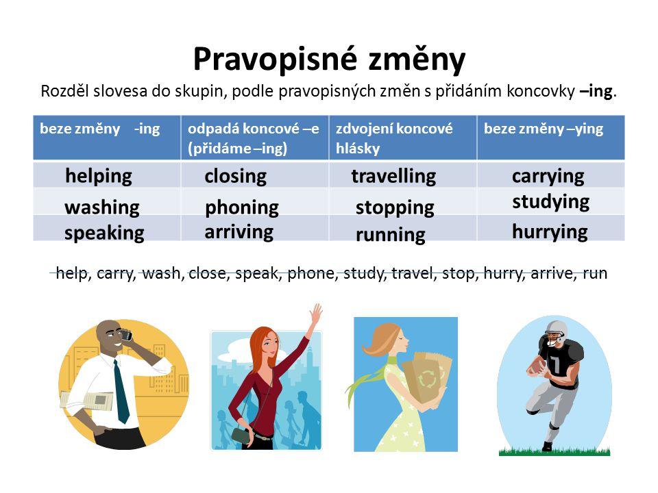 Pravopisné změny Rozděl slovesa do skupin, podle pravopisných změn s přidáním koncovky –ing.