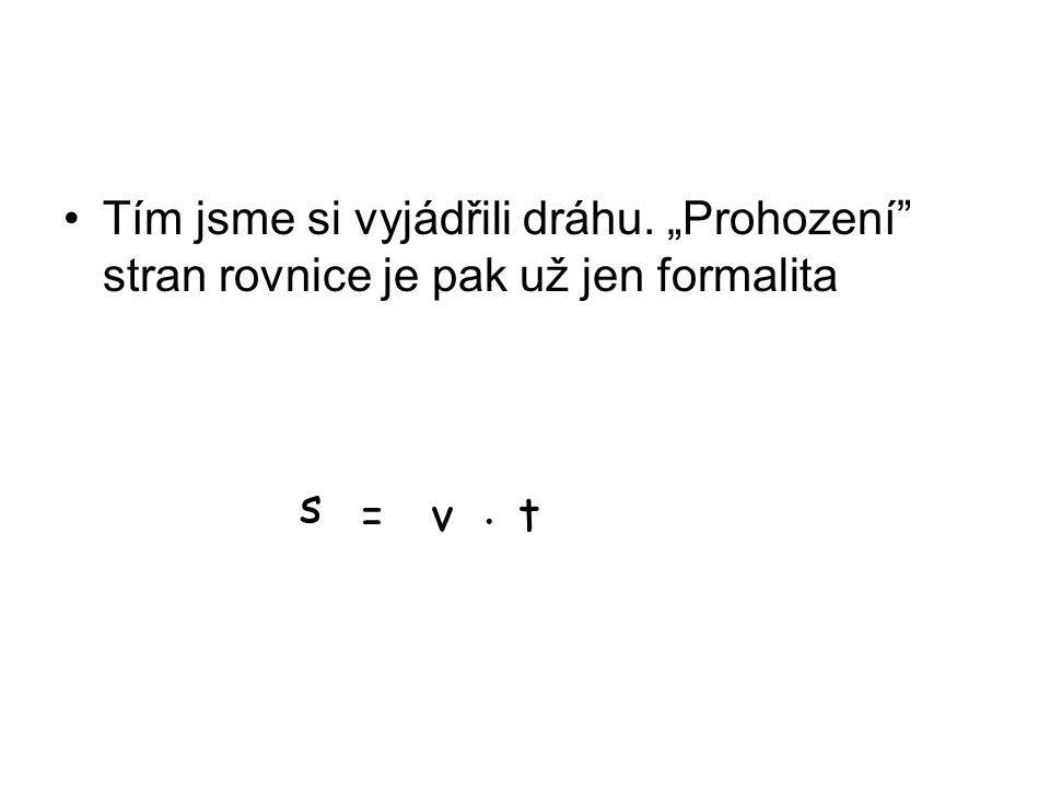 """Tím jsme si vyjádřili dráhu. """"Prohození stran rovnice je pak už jen formalita s =vt."""