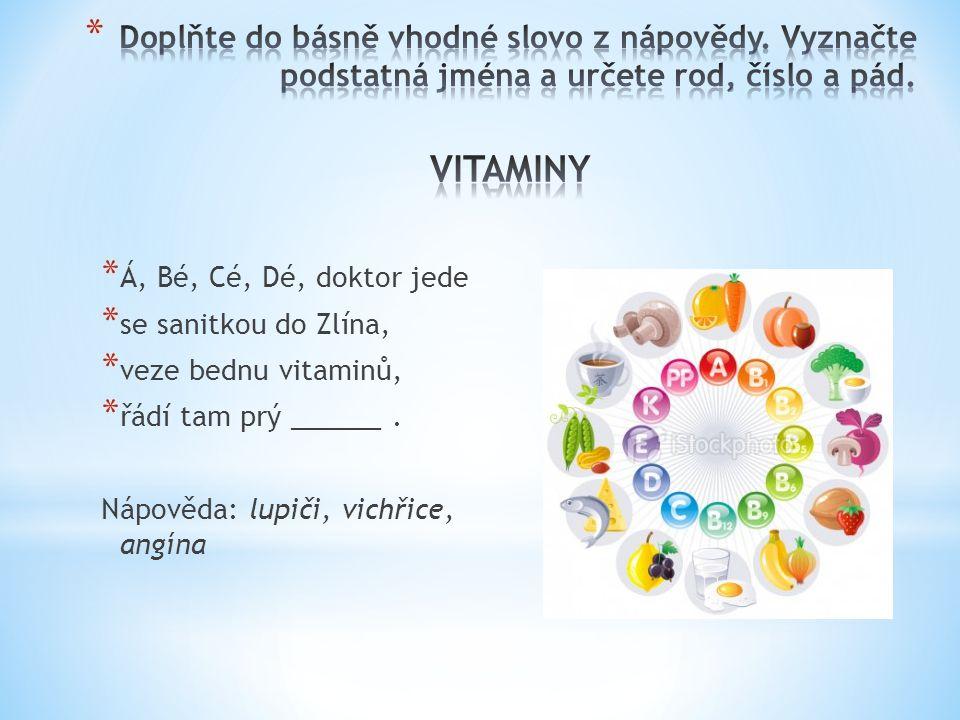 * Á, Bé, Cé, Dé, doktor jede * se sanitkou do Zlína, * veze bednu vitaminů, * řádí tam prý ______. Nápověda: lupiči, vichřice, angína