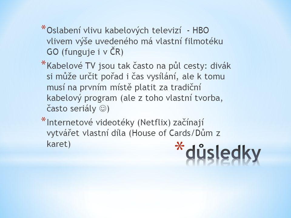 * Oslabení vlivu kabelových televizí - HBO vlivem výše uvedeného má vlastní filmotéku GO (funguje i v ČR) * Kabelové TV jsou tak často na půl cesty: d