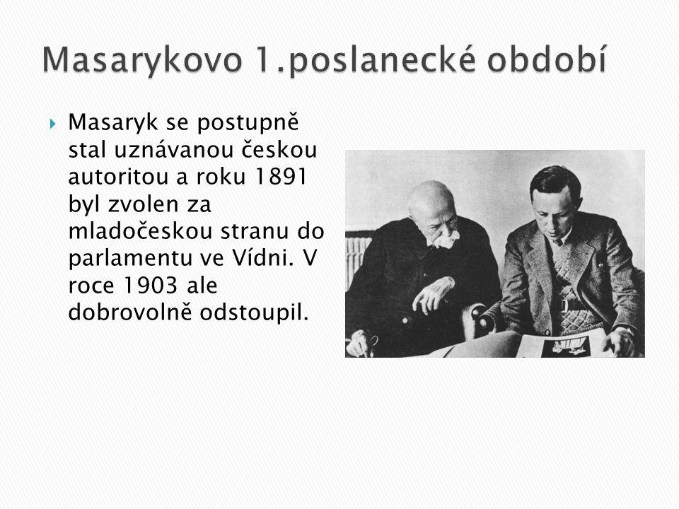  Masaryk se postupně stal uznávanou českou autoritou a roku 1891 byl zvolen za mladočeskou stranu do parlamentu ve Vídni.