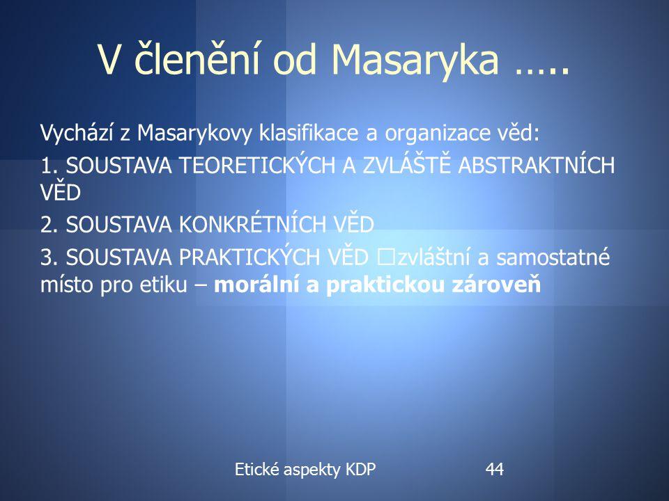 V členění od Masaryka ….. Vychází z Masarykovy klasifikace a organizace věd: 1.