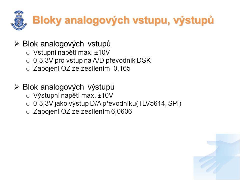  Blok analogových vstupů o Vstupní napětí max.