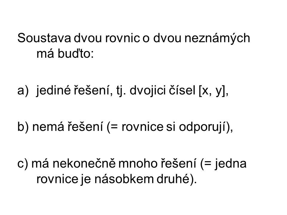 Soustava dvou rovnic o dvou neznámých má buďto: a)jediné řešení, tj.