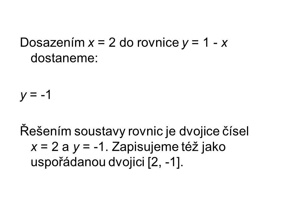 Dosazením x = 2 do rovnice y = 1 - x dostaneme: y = -1 Řešením soustavy rovnic je dvojice čísel x = 2 a y = -1.