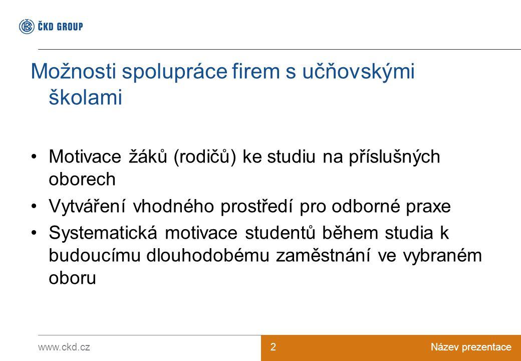 www.ckd.czNázev prezentace2 Možnosti spolupráce firem s učňovskými školami Motivace žáků (rodičů) ke studiu na příslušných oborech Vytváření vhodného