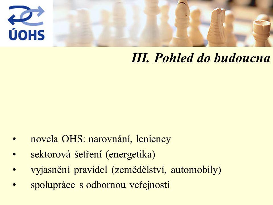 III. Pohled do budoucna novela OHS: narovnání, leniency sektorová šetření (energetika) vyjasnění pravidel (zemědělství, automobily) spolupráce s odbor