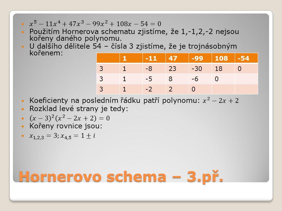 Hornerovo schema – příklady k procvičení – 4.