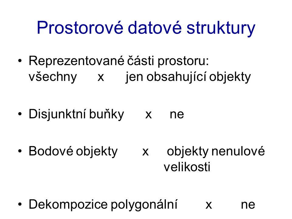Prostorové datové struktury Reprezentované části prostoru: všechny x jen obsahující objekty Disjunktní buňky x ne Bodové objekty x objekty nenulové ve