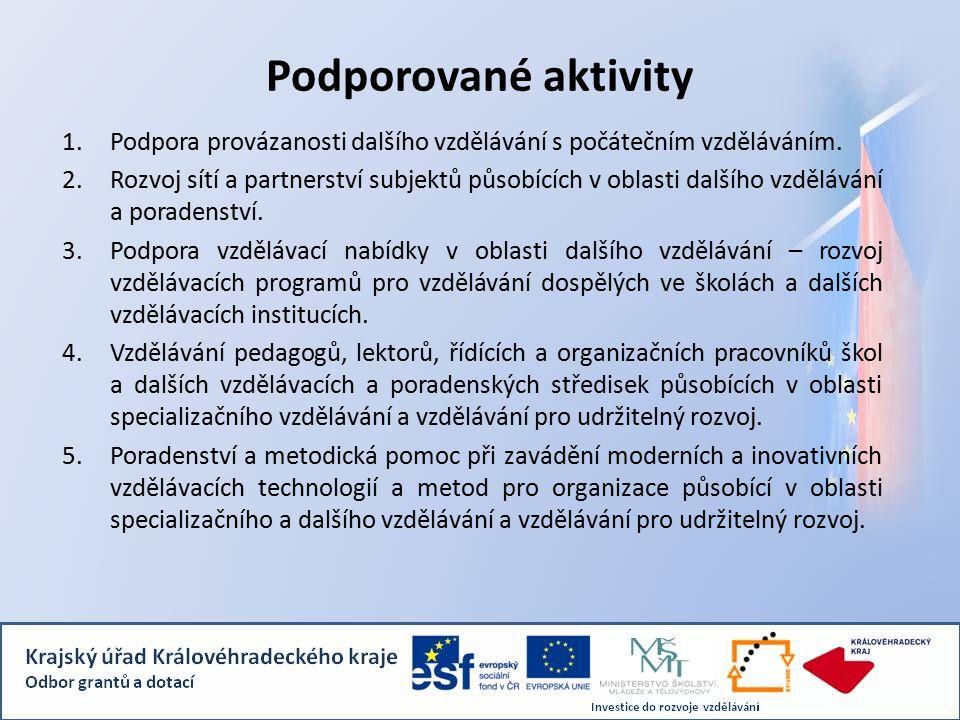 Podporované aktivity 1.Podpora provázanosti dalšího vzdělávání s počátečním vzděláváním.