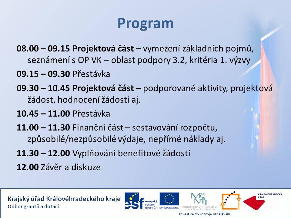 Program 08.00 – 09.15 Projektová část – vymezení základních pojmů, seznámení s OP VK – oblast podpory 3.2, kritéria 1.