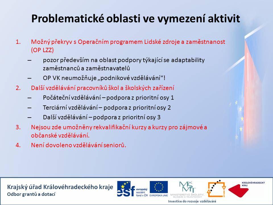 """Problematické oblasti ve vymezení aktivit 1.Možný překryv s Operačním programem Lidské zdroje a zaměstnanost (OP LZZ) – pozor především na oblast podpory týkající se adaptability zaměstnanců a zaměstnavatelů – OP VK neumožňuje """"podnikové vzdělávání ."""