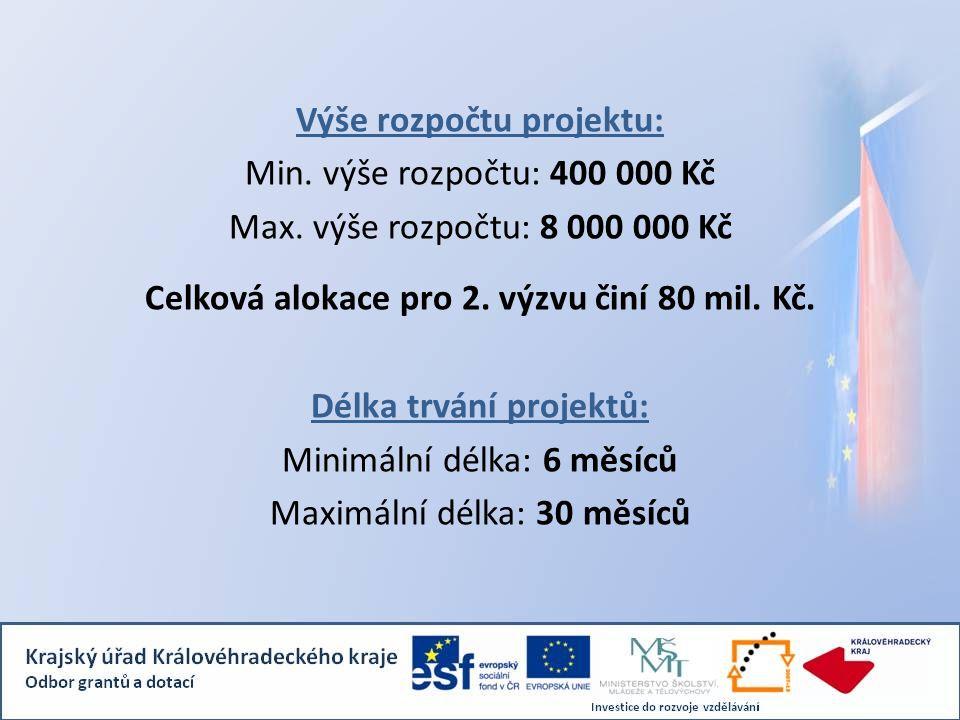 Výše rozpočtu projektu: Min. výše rozpočtu: 400 000 Kč Max.