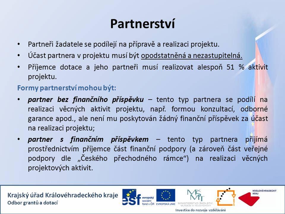 Partnerství Partneři žadatele se podílejí na přípravě a realizaci projektu.