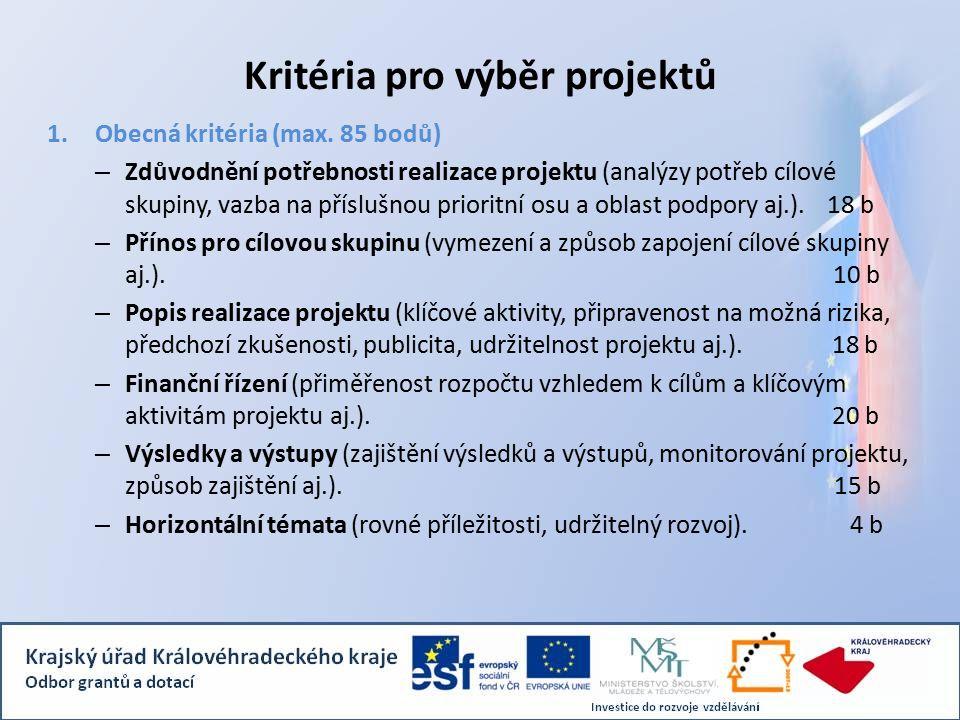 Kritéria pro výběr projektů 1.Obecná kritéria (max.