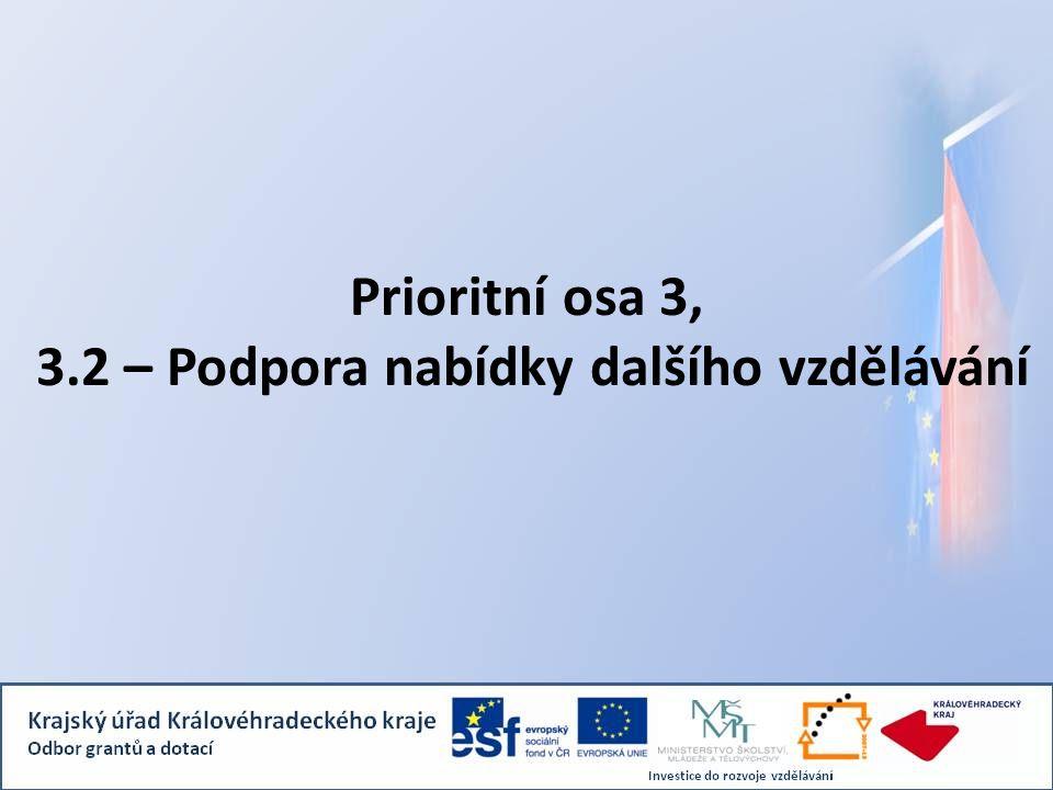 Prioritní osa 3, 3.2 – Podpora nabídky dalšího vzdělávání