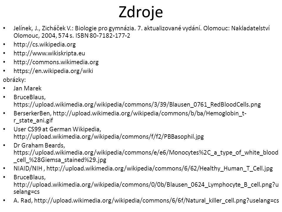 Zdroje Jelínek, J., Zicháček V.: Biologie pro gymnázia.