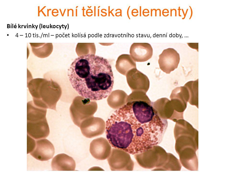 1.Granulocyty a)Neutrofilní nejpočetnější, první linie imunity mikrofágy → hnis b)Eosinofilní omezeně fagocytují ničí extracelulární parazity c)Bazofilní nejvzácnější, po migraci do vaziva stimulují heparinocyty