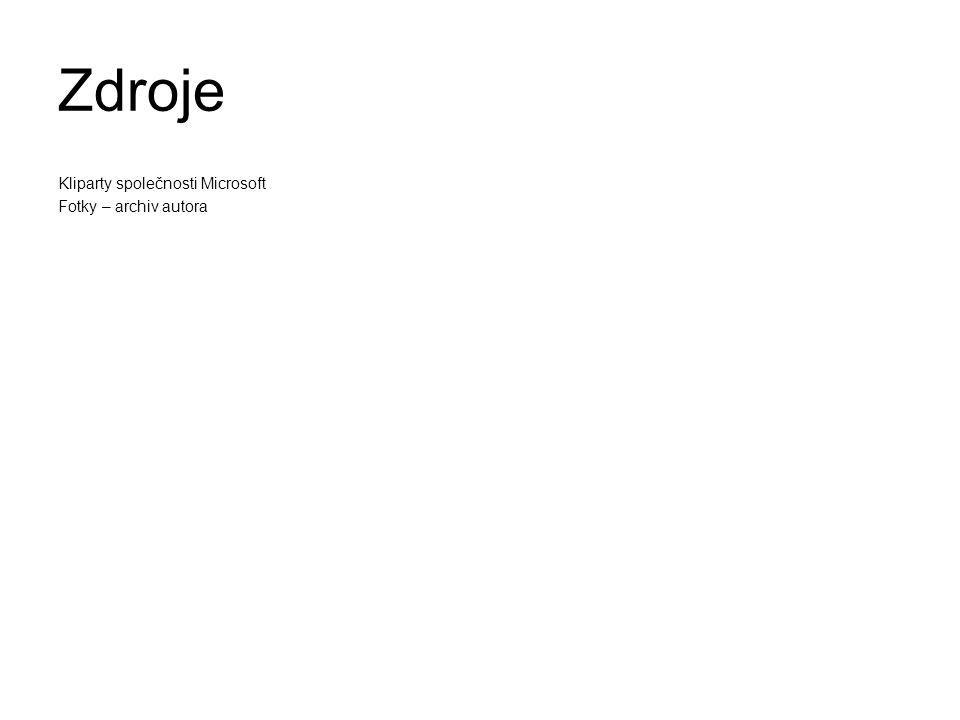 Zdroje Kliparty společnosti Microsoft Fotky – archiv autora