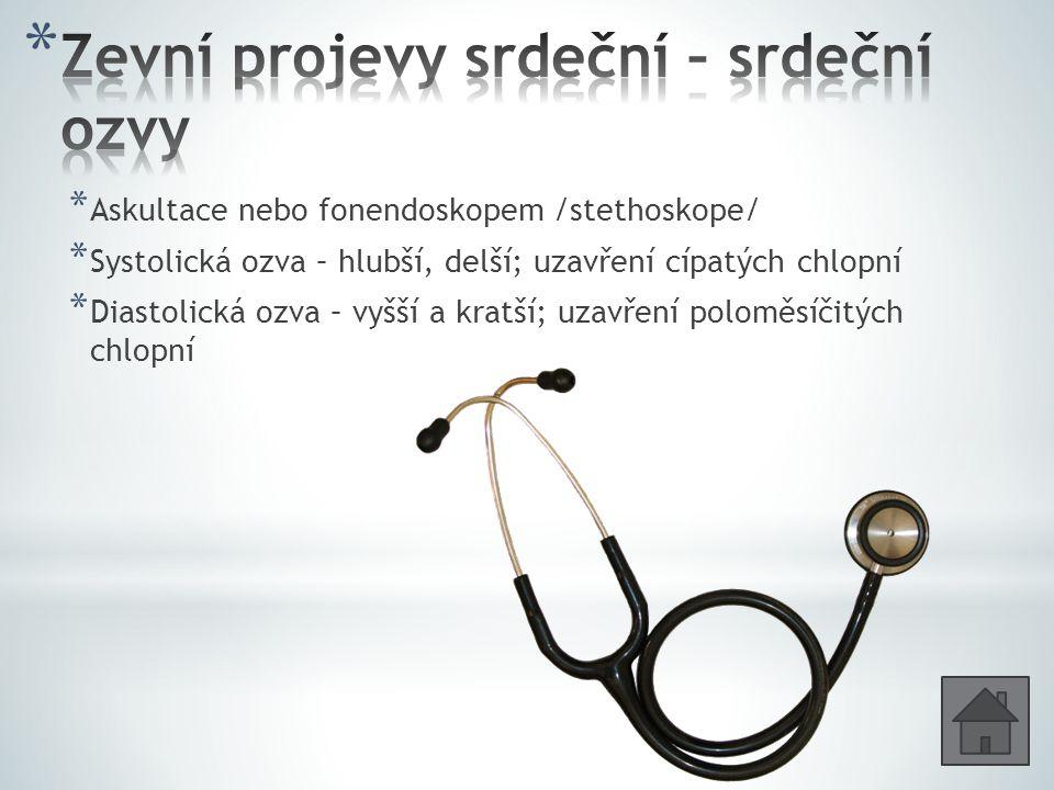 * Askultace nebo fonendoskopem /stethoskope/ * Systolická ozva – hlubší, delší; uzavření cípatých chlopní * Diastolická ozva – vyšší a kratší; uzavřen