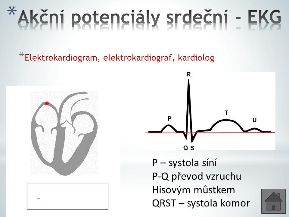 * Elektrokardiogram, elektrokardiograf, kardiolog P – systola síní P-Q převod vzruchu Hisovým můstkem QRST – systola komor