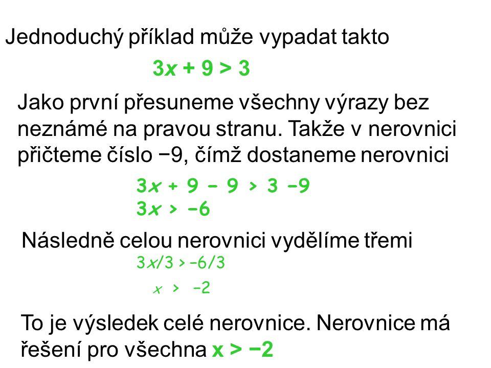 Jednoduchý příklad může vypadat takto 3x + 9 > 3 Jako první přesuneme všechny výrazy bez neznámé na pravou stranu. Takže v nerovnici přičteme číslo −9