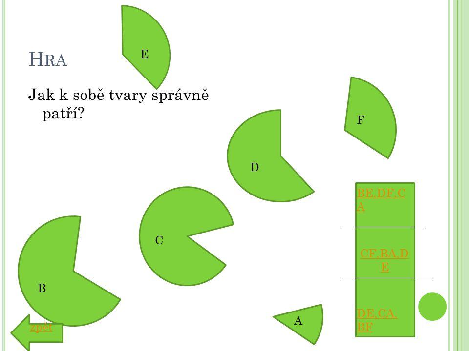 H RA Jak k sobě tvary správně patří A B C D E F CF,BA,D E BE,DF,C A DE,CA, BF zpět