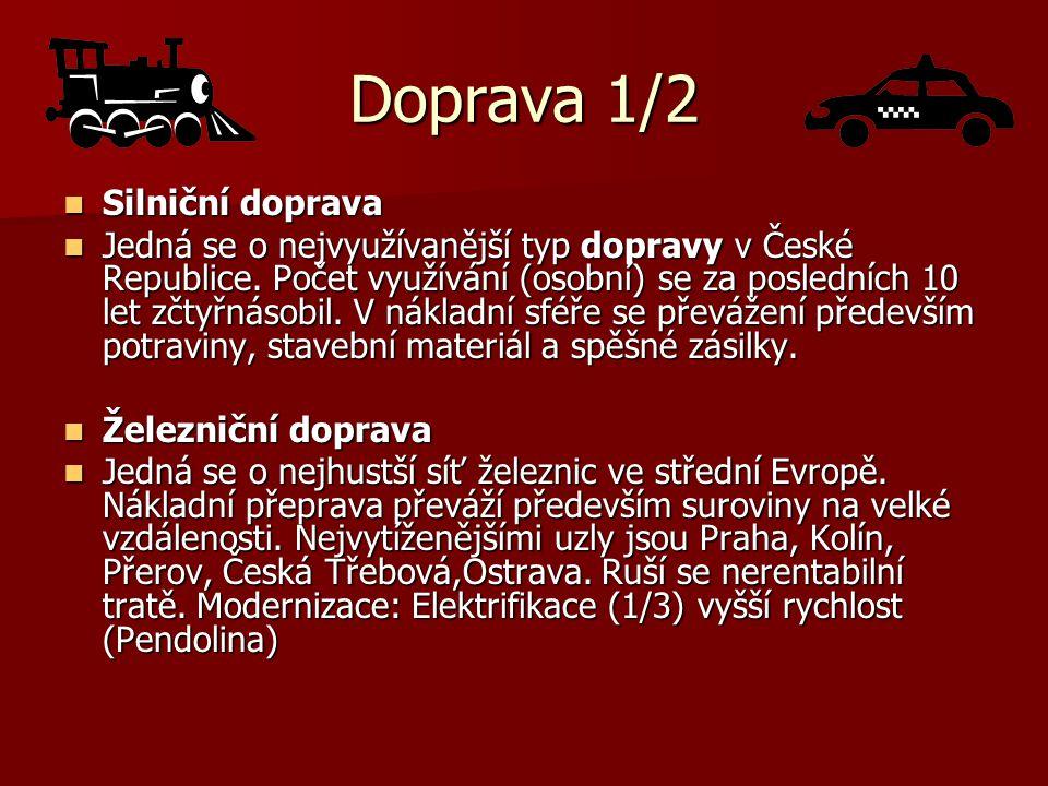 Doprava 1/2 Silniční doprava Silniční doprava Jedná se o nejvyužívanější typ dopravy v České Republice. Počet využívání (osobní) se za posledních 10 l