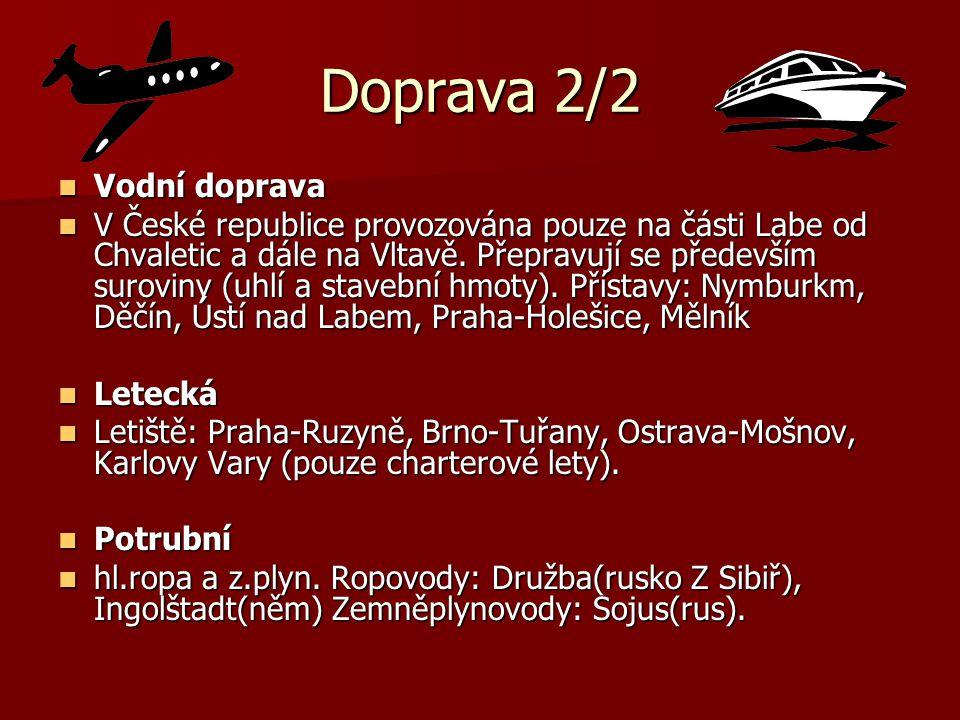 Doprava 2/2 Vodní doprava Vodní doprava V České republice provozována pouze na části Labe od Chvaletic a dále na Vltavě. Přepravují se především surov