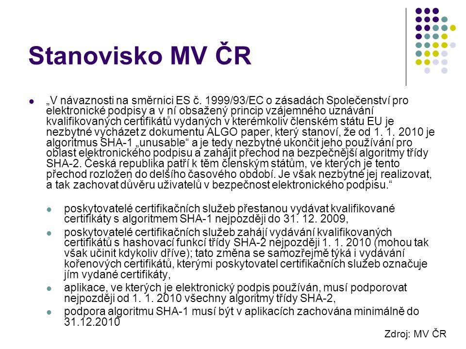 """Stanovisko MV ČR """"V návaznosti na směrnici ES č."""