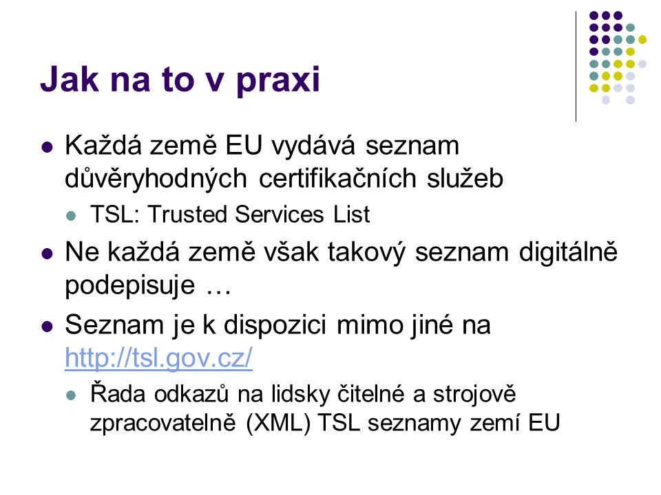 Jak na to v praxi Každá země EU vydává seznam důvěryhodných certifikačních služeb TSL: Trusted Services List Ne každá země však takový seznam digitálně podepisuje … Seznam je k dispozici mimo jiné na http://tsl.gov.cz/ http://tsl.gov.cz/ Řada odkazů na lidsky čitelné a strojově zpracovatelně (XML) TSL seznamy zemí EU